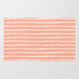 Sweet Life Thin Stripes Peach Coral Pink Rug