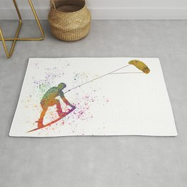 Young man practicing Kite Surf 03 in watercolor Rug