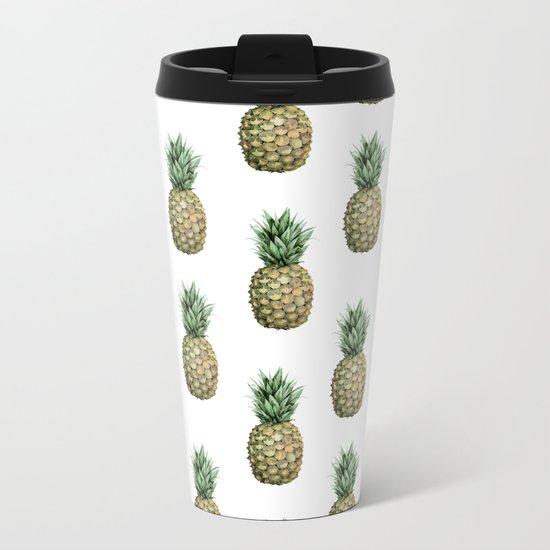 Classic Pineapple Pattern Metal Travel Mug