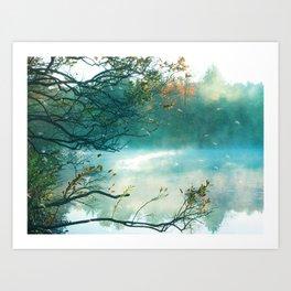 Aqua Teal Autumn Fall Nature Landscape Art Print