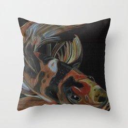 Koi fish on black Throw Pillow
