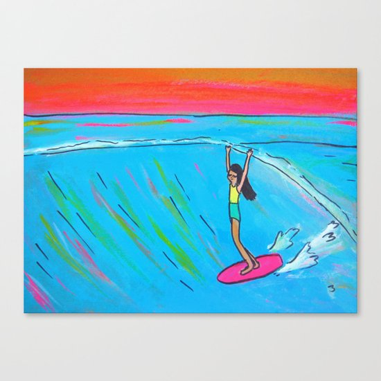 inspirational lady slide rell sunn surf art Canvas Print