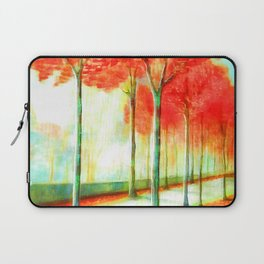 Autumn Red Leaves Trees Way Scenic Art Laptop Sleeve