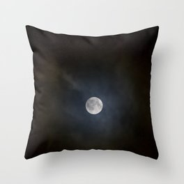 Foggy moon seen from the city at night Throw Pillow