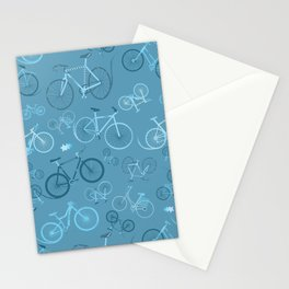 I love bikes in teal Stationery Cards