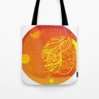 orange pattern Tote Bags featuring Orange Pattern by RifKhas