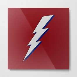 Just Me and My Shadow Lightning Bolt - Dark Red Grey Blue Metal Print