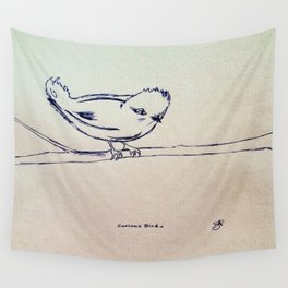 Curious Bird Ink Drawing Wall Tapestry