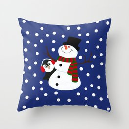 Cute Penguin Snowman Holiday Design Throw Pillow