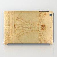 da vinci iPad Cases featuring Leonardo da Vinci - Vitruvian Man by Elegant Chaos Gallery