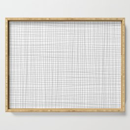White and Black Grid - Disorderly Order Serving Tray