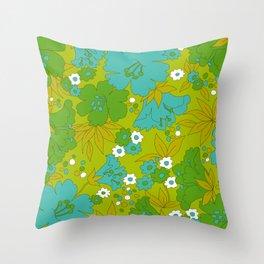 Green, Turquoise, and White Retro Flower Design Pattern Throw Pillow