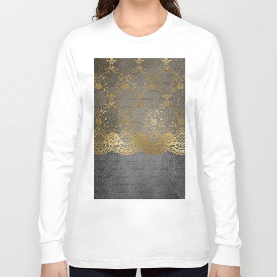 Pure elegance I- gold glitter luxury lace on black grunge background on #Society6 Long Sleeve T-shirt
