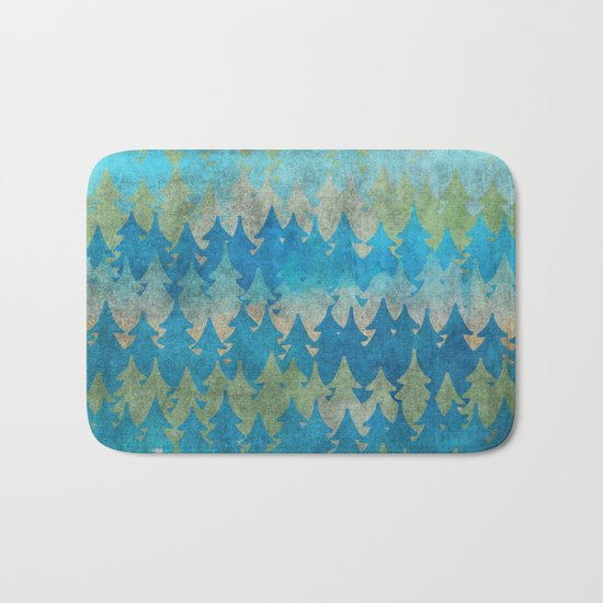 The secret forest - Abstract aqua turquoise Forest tree pattern Bath Mat