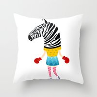 boxing Throw Pillows featuring Boxing time by Alba Vilardebo