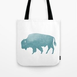 Watercolor Bison in Mint Blue Tote Bag