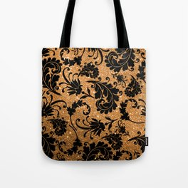 Vintage black faux gold glitter floral damask pattern Tote Bag