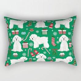 Bichon Frise Christmas dog breed pattern mittens stockings presents dog lover Rectangular Pillow