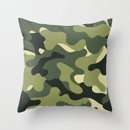 Camouflage Camo Green Tan Pattern Throw Pillow