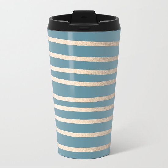 Abstract Drawn Stripes Gold Tropical Ocean Blue Metal Travel Mug
