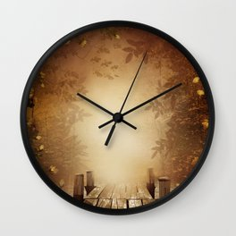 Autumn Fishing Pier Wall Clock