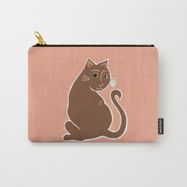 Brown Cat with Yellow Eyes Carry-All Pouch