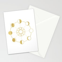 Gold Moon and Sun Phases Stationery Cards