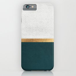 Deep Green, Gold and White Color Block iPhone Case