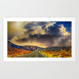 Country Road Scenic Moutnains Sunset Art Print