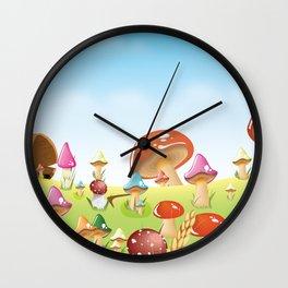 Mushroom fields panorama Wall Clock