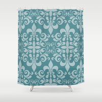 damask Shower Curtains featuring Damask by Xiao Twins