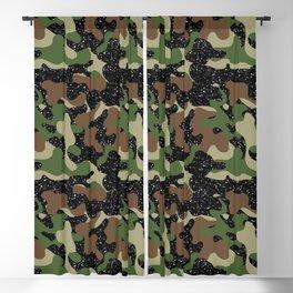 USA Woodland Camo Army Olive Brown Black Sparkle  Blackout Curtain