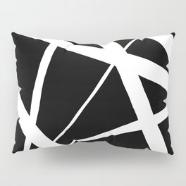 Geometric Line Abstract - Black White Pillow Sham