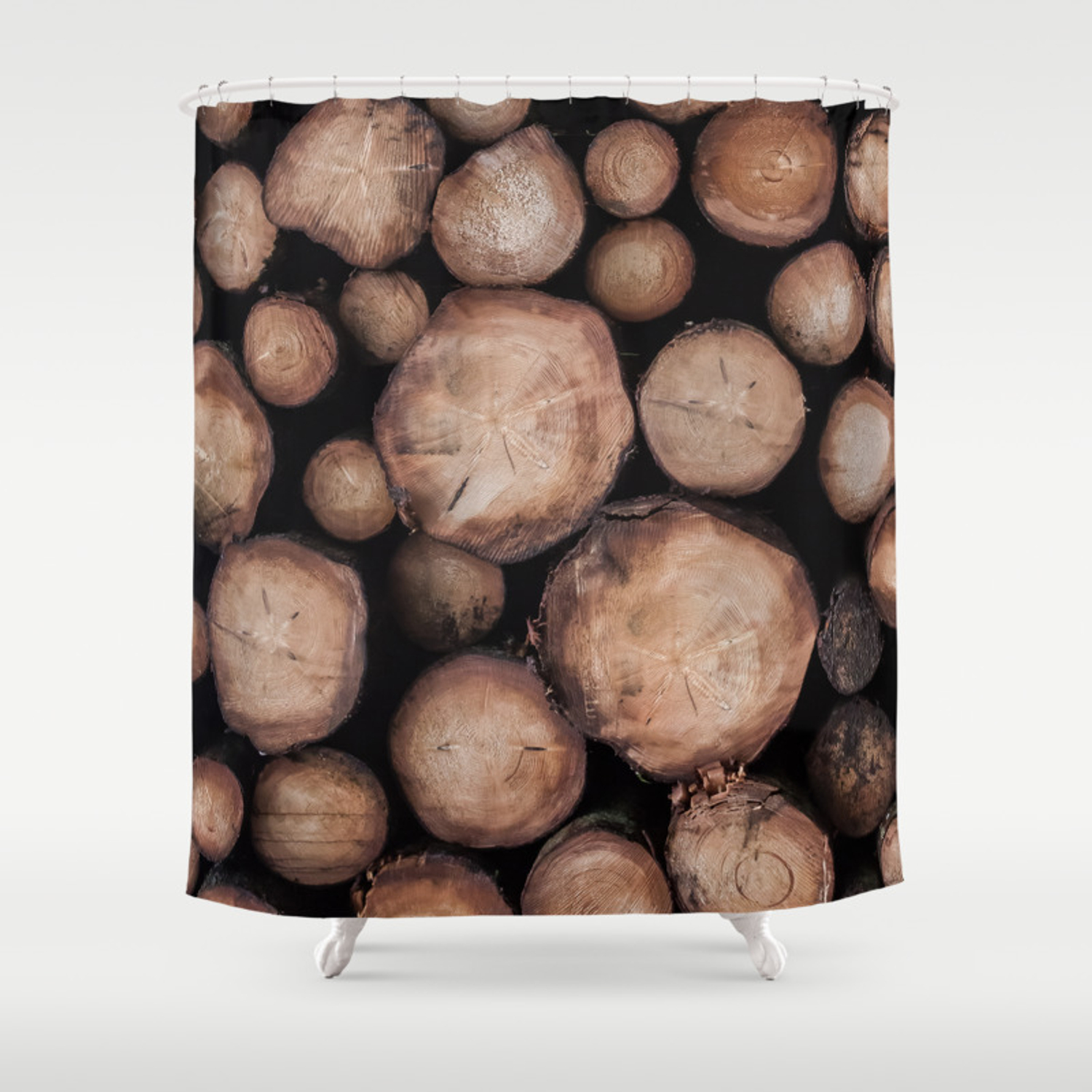 Wood Tree Ring Pattern Shower Curtain