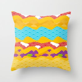 Summer bright pattern  scales simple Nature background with Chinese wave circle pattern Throw Pillow