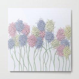 Pastel Cotton Ball Flower Scene Metal Print