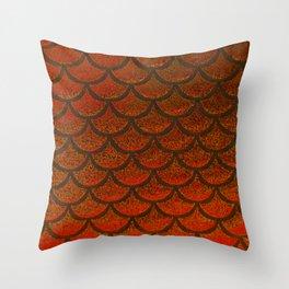 Bronze Brick Scales Throw Pillow