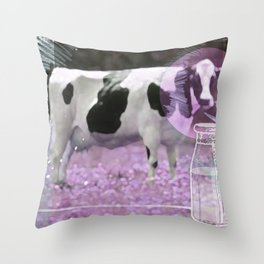 Milk comes from a bottle Throw Pillow