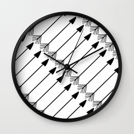 Tribal Art Arrows, Black and White Pattern Wall Clock