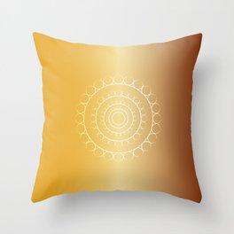 Gold Leaves Mandala Throw Pillow