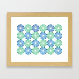 Blue and green circles pattern Framed Art Print