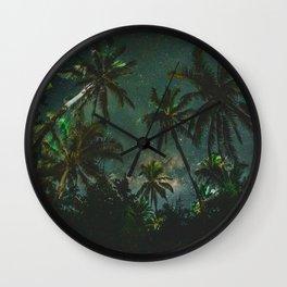 Tropical Palm Trees Night Star Sky Milky Way Carribean Night Sky Wall Clock