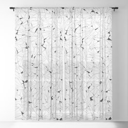 Paper planes B&W / Lineart texture of paper planes Sheer Curtain