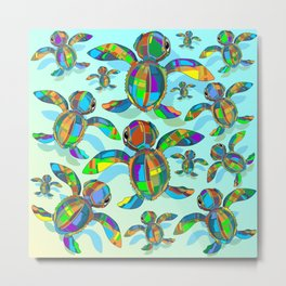 Baby Sea Turtle Fabric Toy Metal Print