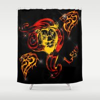 astrology Shower Curtains featuring Leo Astrology Sign by TrinityHawk Photography & Multimedia