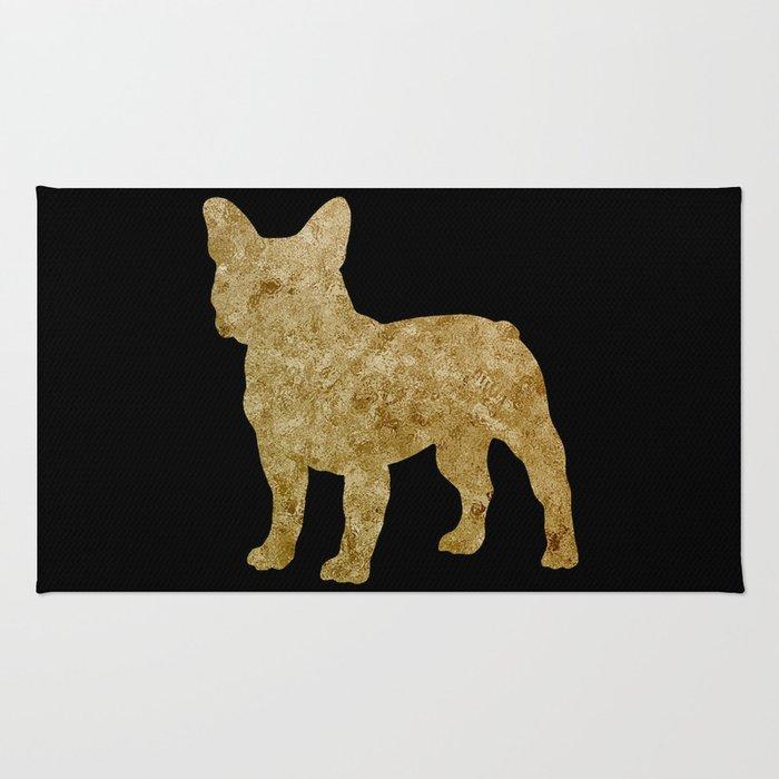 Golden Frenchie on black Rug