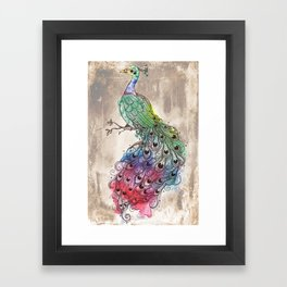 Grunge Peacock Framed Art Print