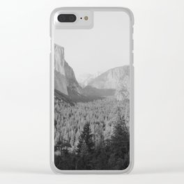 Yosemite Valley in Black and White Clear iPhone Case