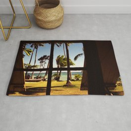 Tropical Fiji Beach Scene Rug