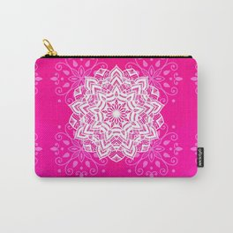 White mandala on bright pink design Carry-All Pouch